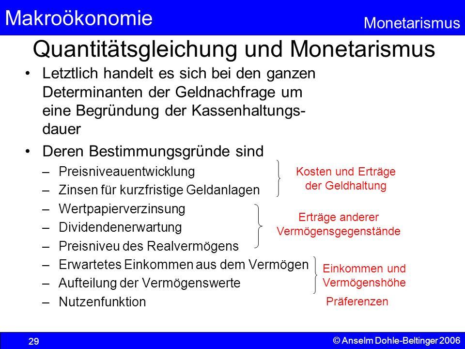 Makroökonomie Monetarismus © Anselm Dohle-Beltinger 2006 29 Quantitätsgleichung und Monetarismus Letztlich handelt es sich bei den ganzen Determinante