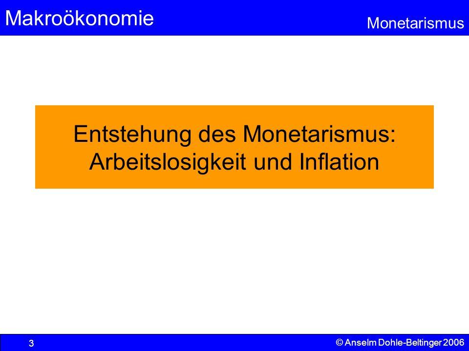 Makroökonomie Monetarismus © Anselm Dohle-Beltinger 2006 3 Entstehung des Monetarismus: Arbeitslosigkeit und Inflation