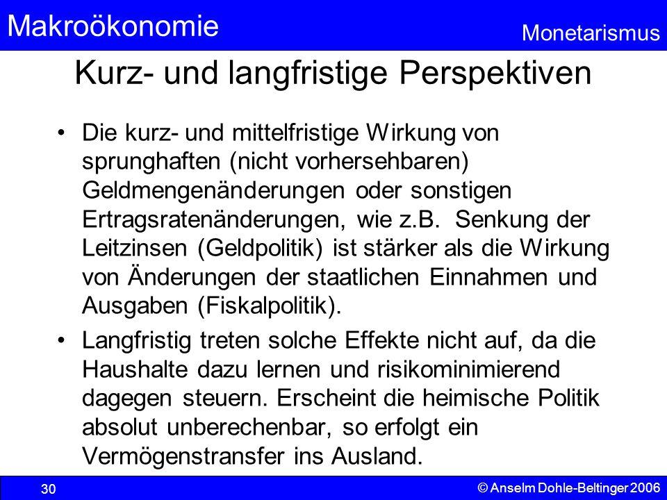 Makroökonomie Monetarismus © Anselm Dohle-Beltinger 2006 30 Kurz- und langfristige Perspektiven Die kurz- und mittelfristige Wirkung von sprunghaften