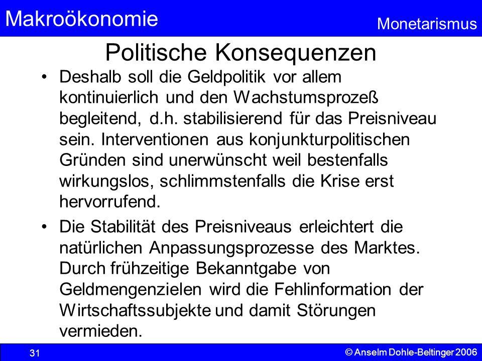 Makroökonomie Monetarismus © Anselm Dohle-Beltinger 2006 31 Politische Konsequenzen Deshalb soll die Geldpolitik vor allem kontinuierlich und den Wach