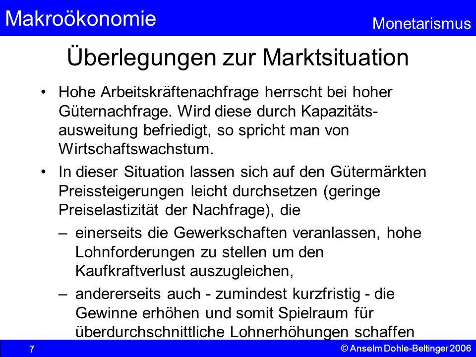 Makroökonomie Monetarismus © Anselm Dohle-Beltinger 2006 7 Überlegungen zur Marktsituation Hohe Arbeitskräftenachfrage herrscht bei hoher Güternachfra