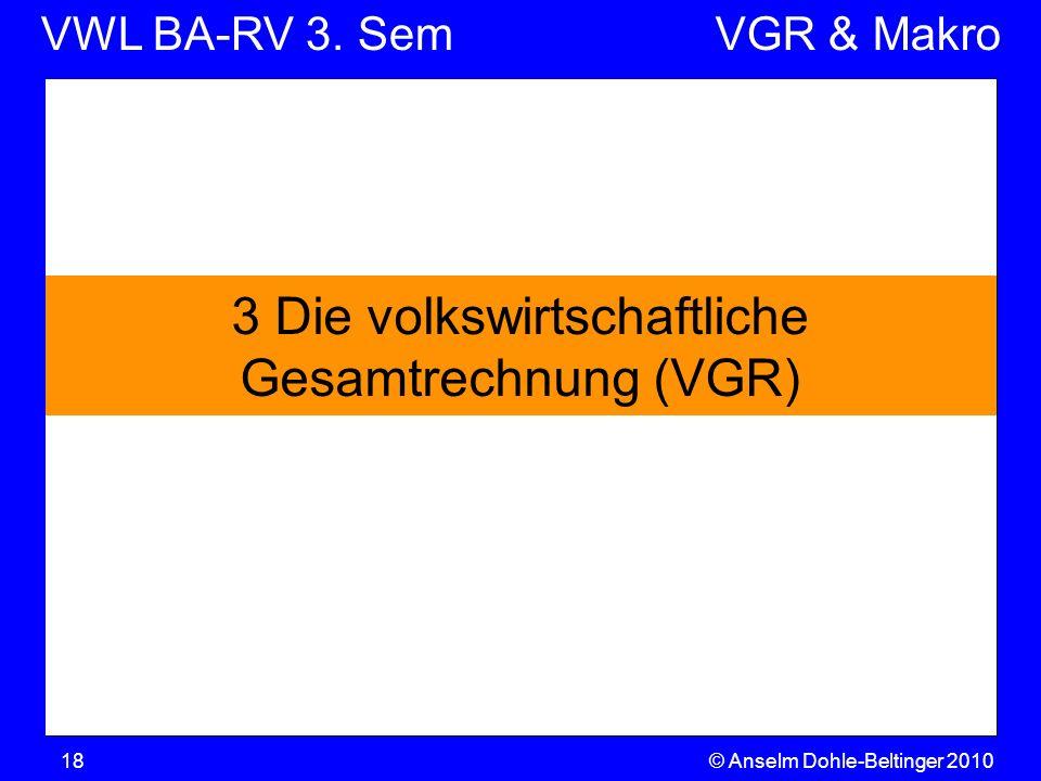 VWL BA-RV 3. SemVGR & Makro © Anselm Dohle-Beltinger 201018 3 Die volkswirtschaftliche Gesamtrechnung (VGR)