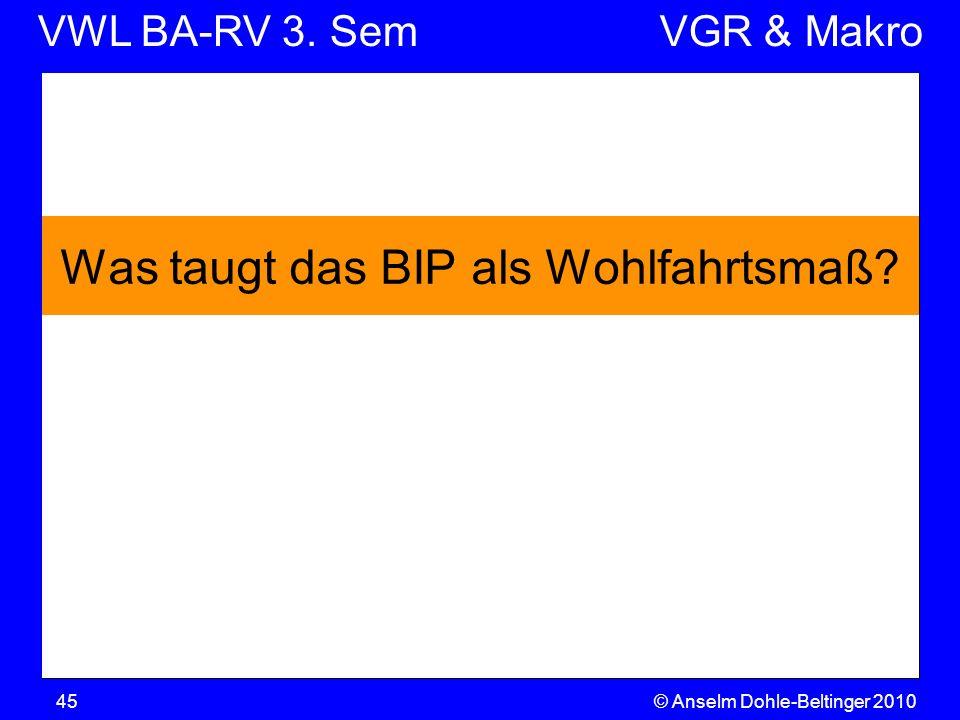 VWL BA-RV 3. SemVGR & Makro © Anselm Dohle-Beltinger 201045 Was taugt das BIP als Wohlfahrtsmaß?