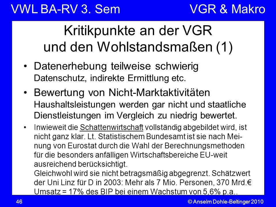 VWL BA-RV 3. SemVGR & Makro © Anselm Dohle-Beltinger 201046 Kritikpunkte an der VGR und den Wohlstandsmaßen (1) Datenerhebung teilweise schwierig Date