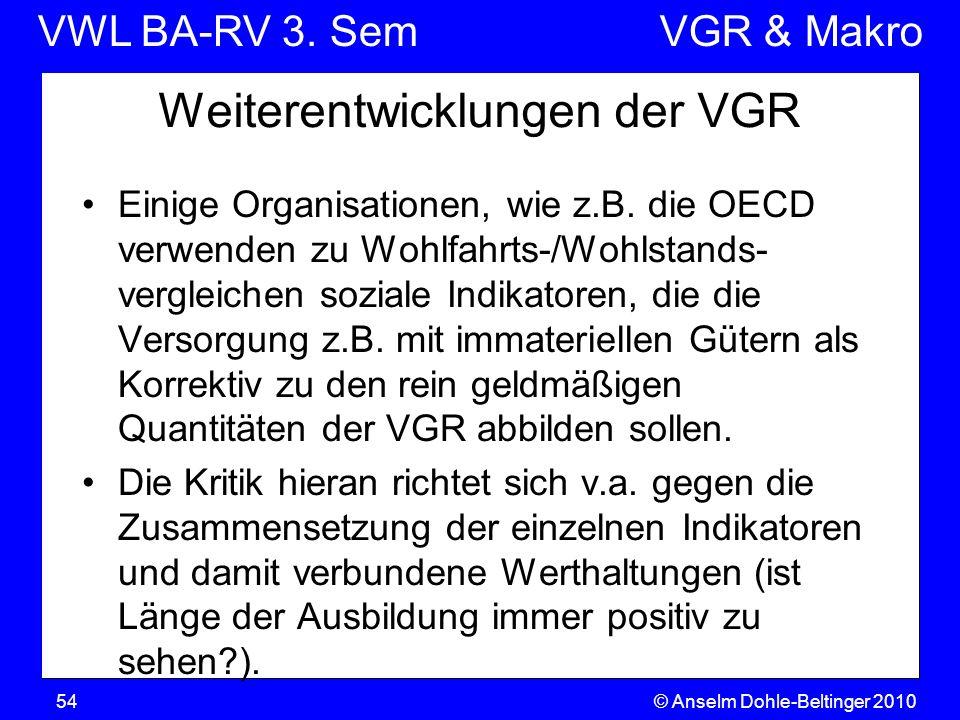VWL BA-RV 3. SemVGR & Makro © Anselm Dohle-Beltinger 201054 Weiterentwicklungen der VGR Einige Organisationen, wie z.B. die OECD verwenden zu Wohlfahr