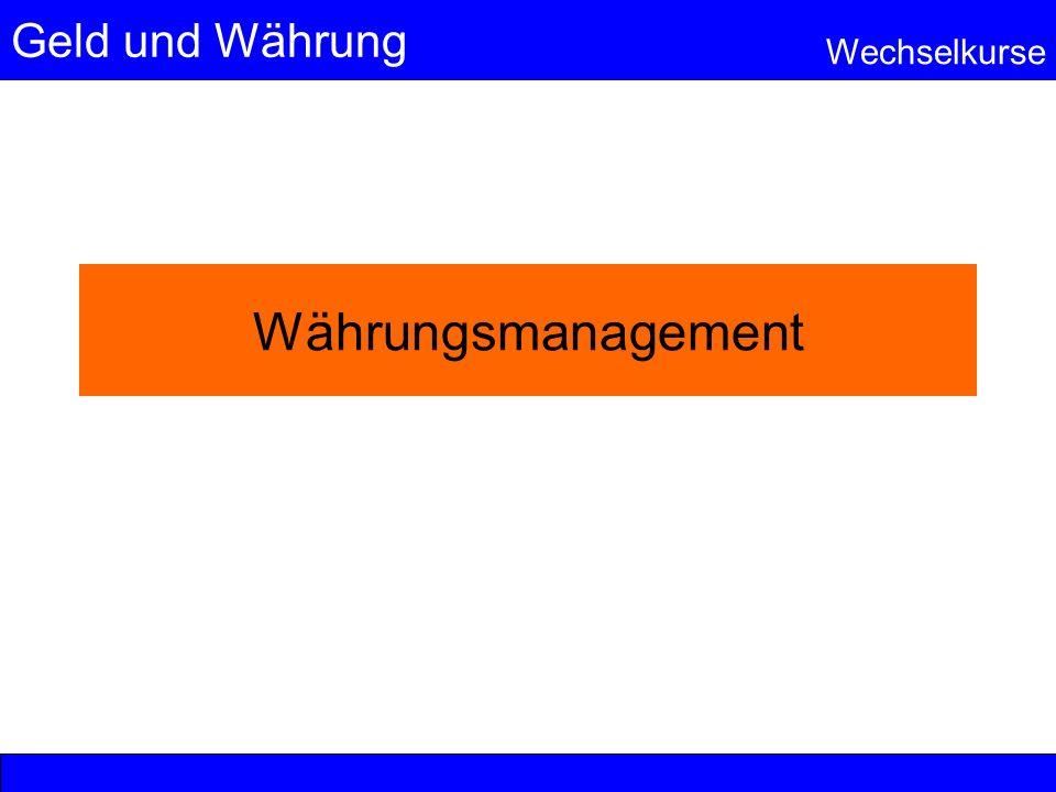 Geld und Währung Wechselkurse Währungsmanagement