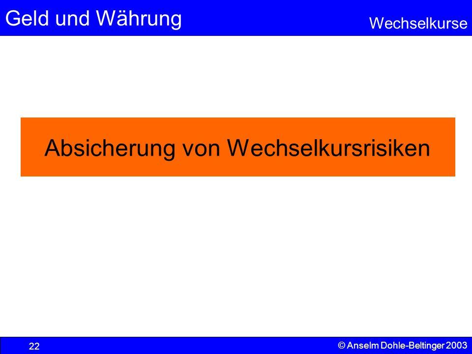 Geld und Währung Wechselkurse © Anselm Dohle-Beltinger 2003 22 Absicherung von Wechselkursrisiken
