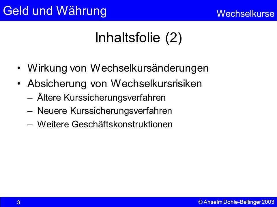 Geld und Währung Wechselkurse © Anselm Dohle-Beltinger 2003 24 Ältere Kurssicherungsverfahren Devisentermingeschäfte Durch den Abschluss eines Devisentermingeschäftes wird ein später (z.
