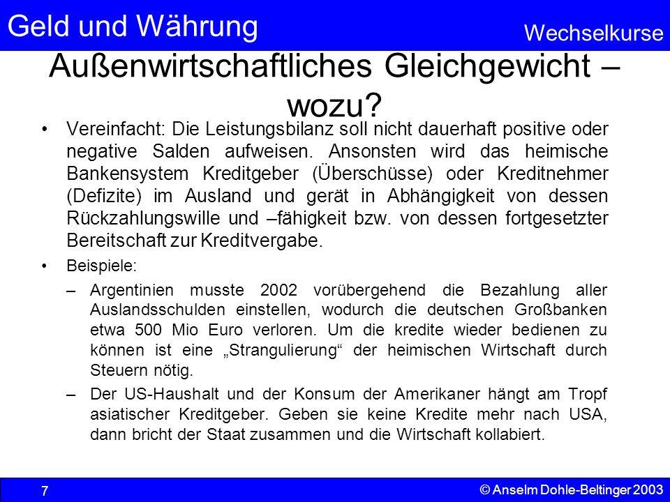 Geld und Währung Wechselkurse © Anselm Dohle-Beltinger 2003 8 Gradmesser der Position gegenüber dem Ausland: Der Wechselkurs