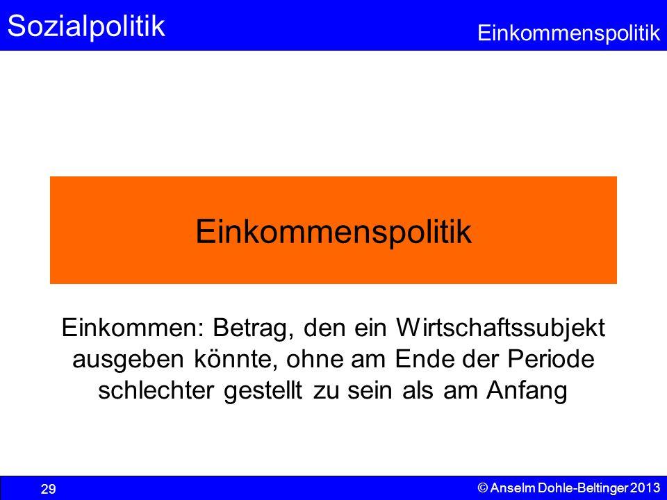Sozialpolitik Einkommenspolitik © Anselm Dohle-Beltinger 2013 29 Einkommenspolitik Einkommen: Betrag, den ein Wirtschaftssubjekt ausgeben könnte, ohne