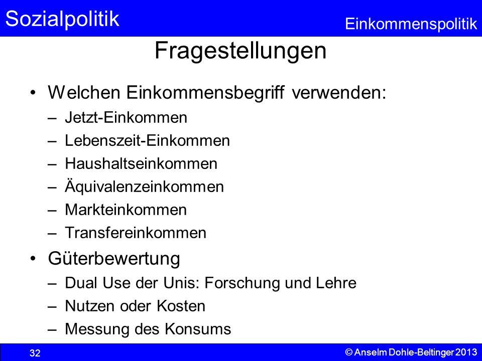 Sozialpolitik Einkommenspolitik © Anselm Dohle-Beltinger 2013 32 Fragestellungen Welchen Einkommensbegriff verwenden: –Jetzt-Einkommen –Lebenszeit-Ein