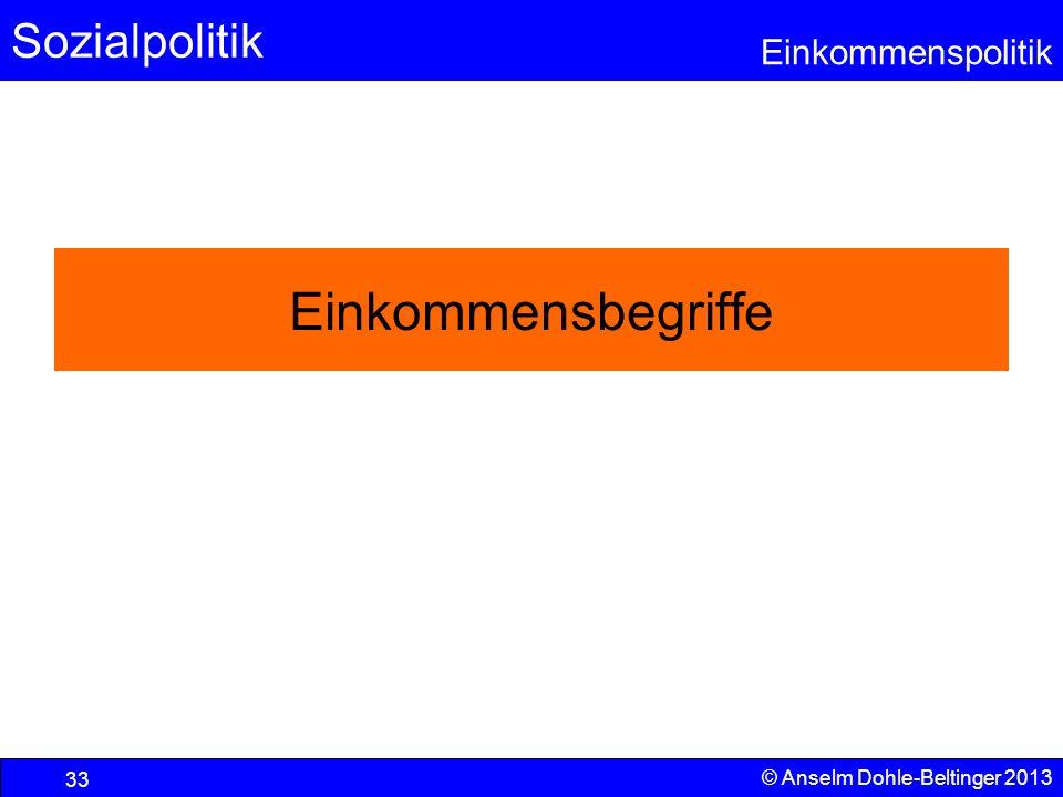 Sozialpolitik Einkommenspolitik © Anselm Dohle-Beltinger 2013 33 Einkommensbegriffe