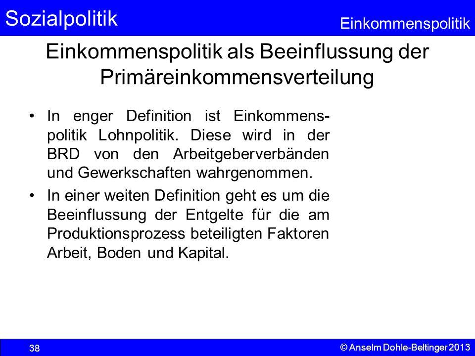 Sozialpolitik Einkommenspolitik © Anselm Dohle-Beltinger 2013 38 Einkommenspolitik als Beeinflussung der Primäreinkommensverteilung In enger Definitio