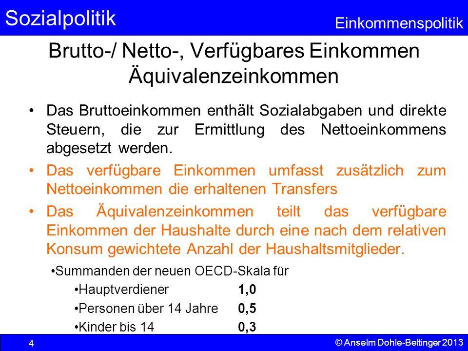 Sozialpolitik Einkommenspolitik © Anselm Dohle-Beltinger 2013 4 Brutto-/ Netto-, Verfügbares Einkommen Äquivalenzeinkommen Das Bruttoeinkommen enthält