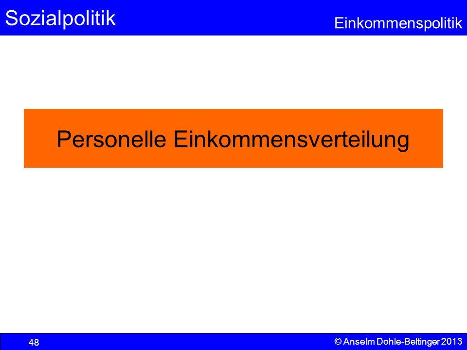 Sozialpolitik Einkommenspolitik © Anselm Dohle-Beltinger 2013 48 Personelle Einkommensverteilung