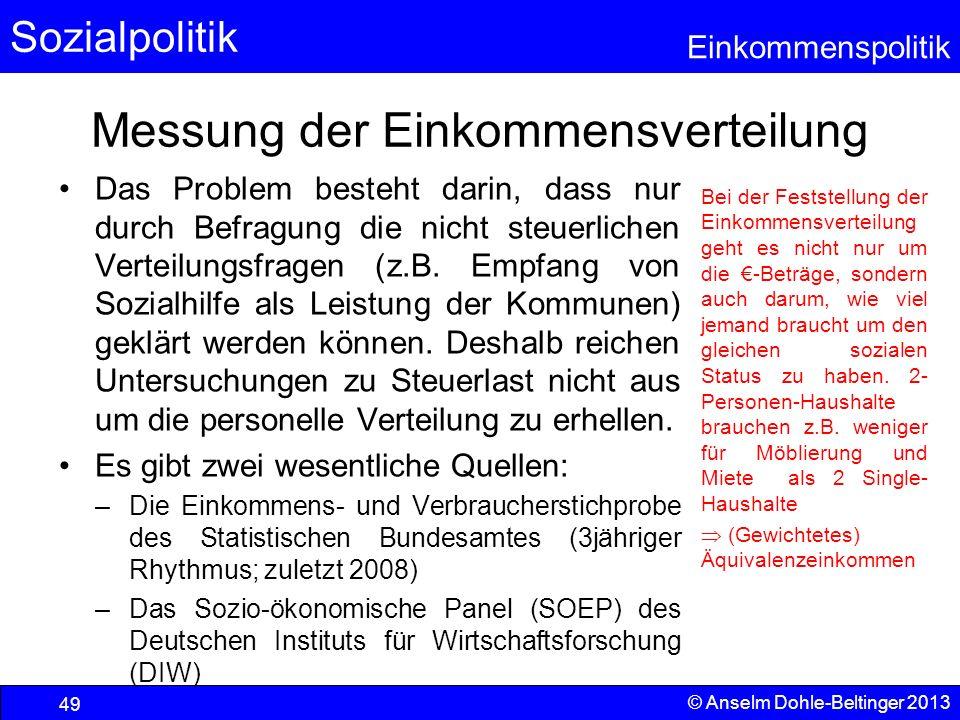 Sozialpolitik Einkommenspolitik © Anselm Dohle-Beltinger 2013 49 Messung der Einkommensverteilung Das Problem besteht darin, dass nur durch Befragung