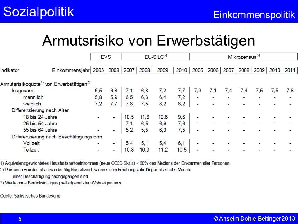 Sozialpolitik Einkommenspolitik © Anselm Dohle-Beltinger 2013 46 Transfervolumen der öffentlichen Hand Diese Zahlen dürfen nur als Untergrenze verstanden werden, da es zahlreiche weitere Elemente, wie z.B.