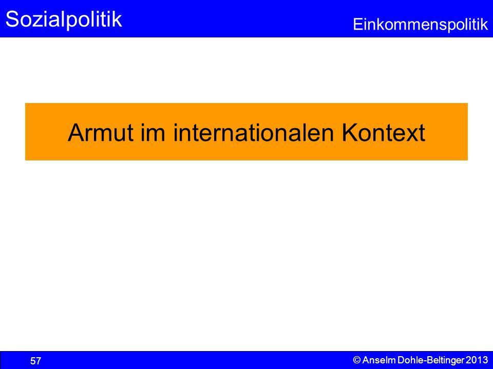 Sozialpolitik Einkommenspolitik © Anselm Dohle-Beltinger 2013 57 Armut im internationalen Kontext