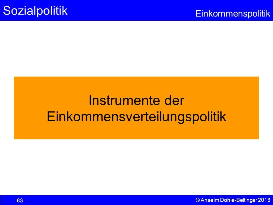 Sozialpolitik Einkommenspolitik © Anselm Dohle-Beltinger 2013 63 Instrumente der Einkommensverteilungspolitik
