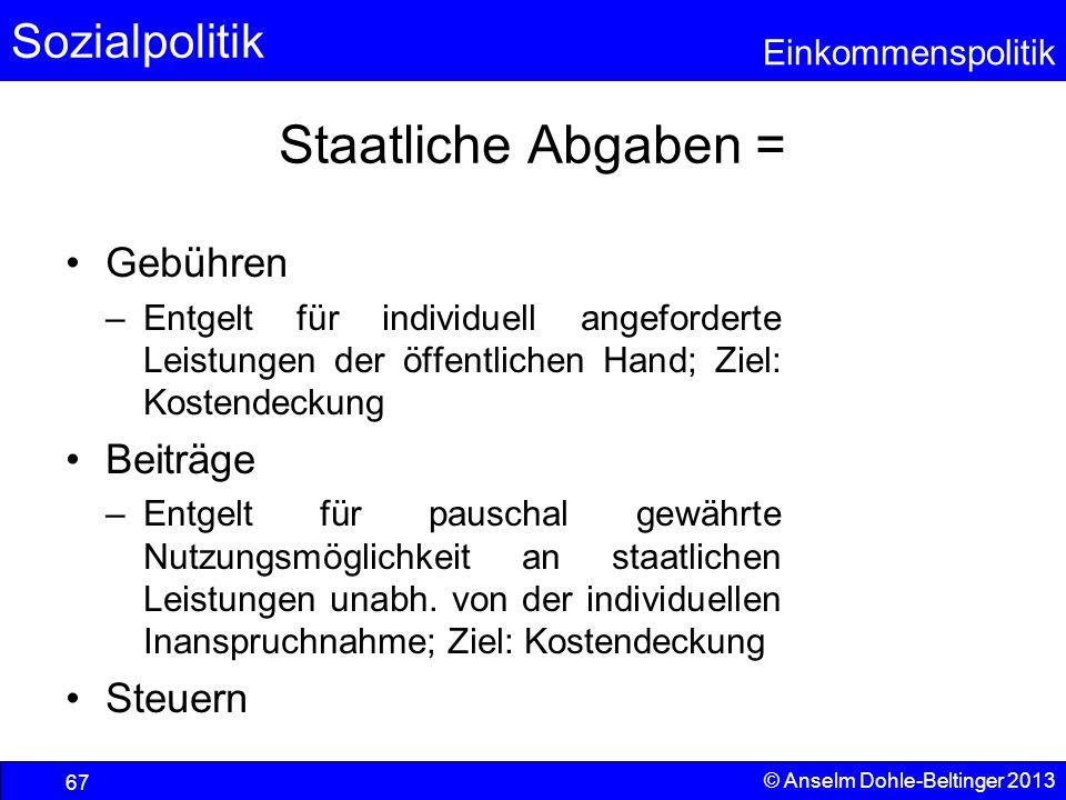 Sozialpolitik Einkommenspolitik © Anselm Dohle-Beltinger 2013 67 Staatliche Abgaben = Gebühren –Entgelt für individuell angeforderte Leistungen der öf