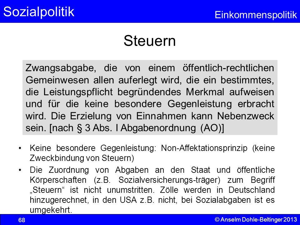 Sozialpolitik Einkommenspolitik © Anselm Dohle-Beltinger 2013 68 Steuern Keine besondere Gegenleistung: Non-Affektationsprinzip (keine Zweckbindung vo