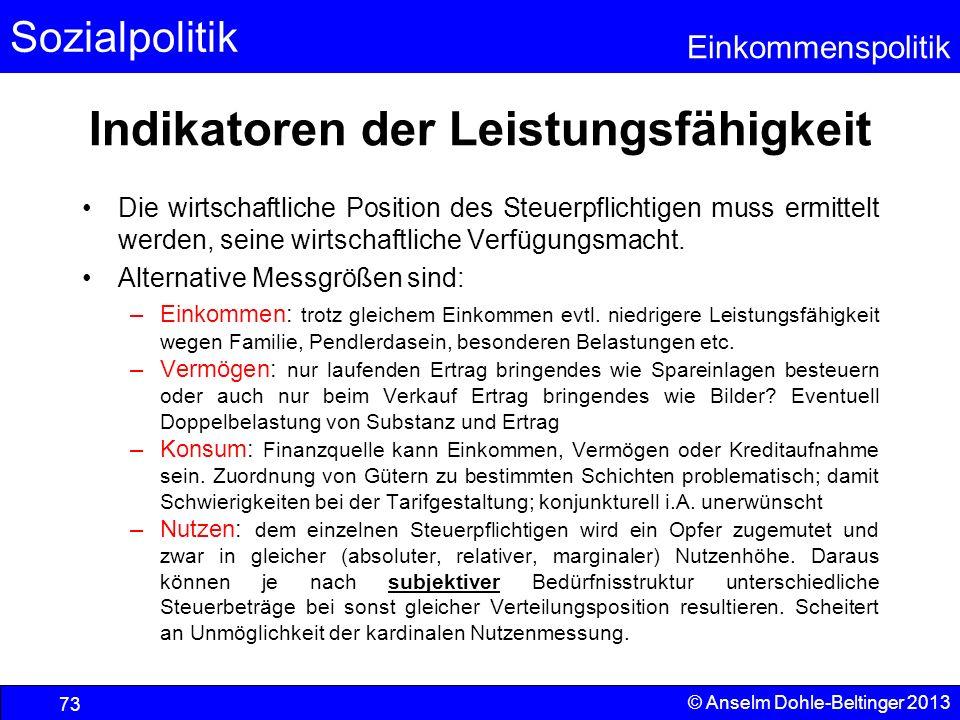 Sozialpolitik Einkommenspolitik © Anselm Dohle-Beltinger 2013 73 Indikatoren der Leistungsfähigkeit Die wirtschaftliche Position des Steuerpflichtigen
