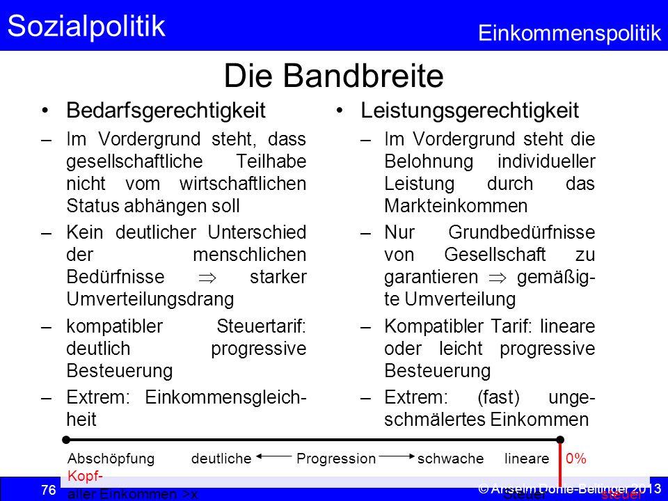 Sozialpolitik Einkommenspolitik © Anselm Dohle-Beltinger 2013 76 Die Bandbreite Bedarfsgerechtigkeit –Im Vordergrund steht, dass gesellschaftliche Tei