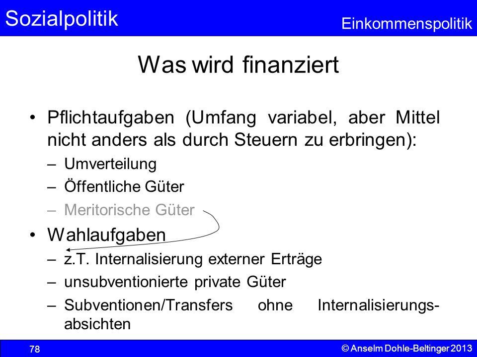 Sozialpolitik Einkommenspolitik © Anselm Dohle-Beltinger 2013 78 Was wird finanziert Pflichtaufgaben (Umfang variabel, aber Mittel nicht anders als du