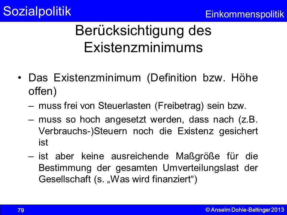 Sozialpolitik Einkommenspolitik © Anselm Dohle-Beltinger 2013 79 Berücksichtigung des Existenzminimums Das Existenzminimum (Definition bzw. Höhe offen