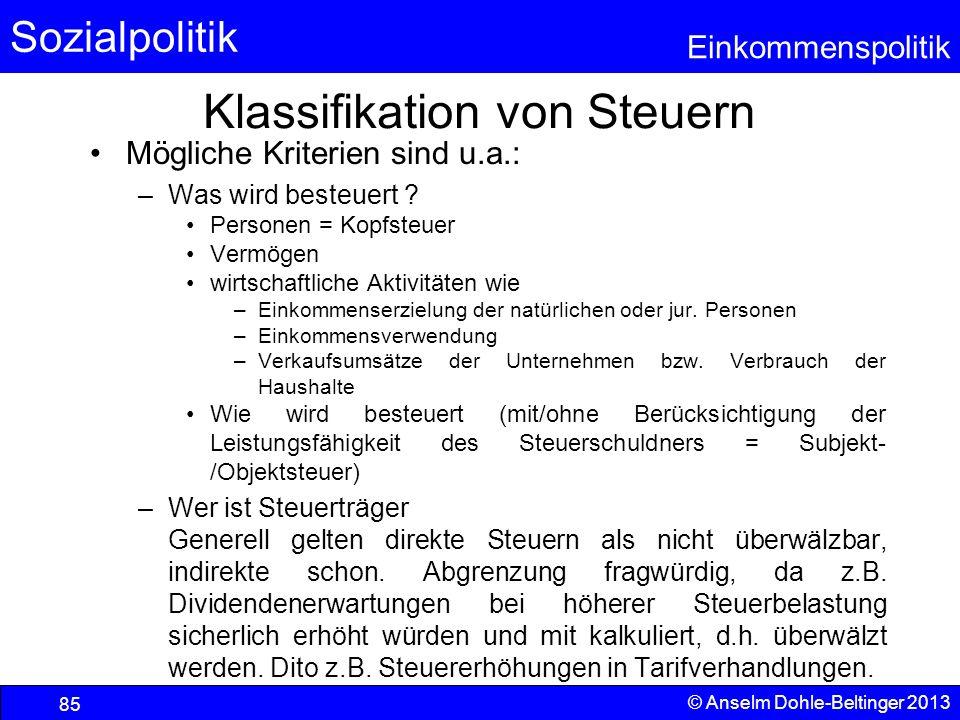 Sozialpolitik Einkommenspolitik © Anselm Dohle-Beltinger 2013 85 Klassifikation von Steuern Mögliche Kriterien sind u.a.: –Was wird besteuert ? Person