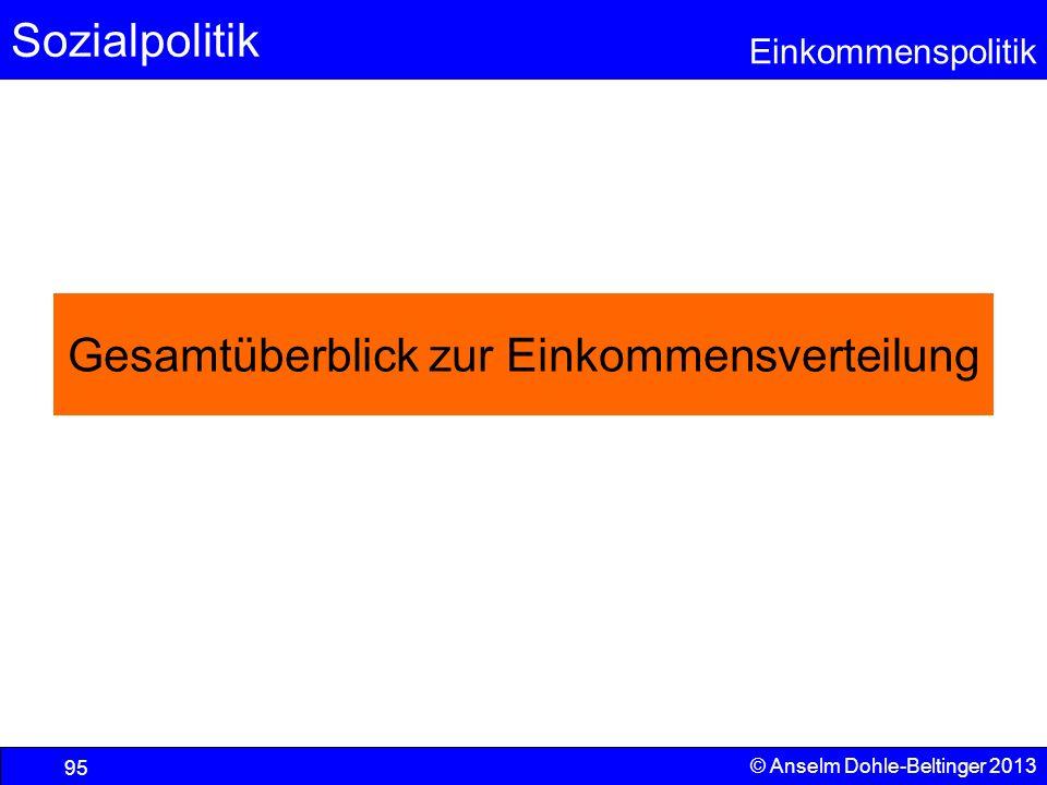 Sozialpolitik Einkommenspolitik © Anselm Dohle-Beltinger 2013 95 Gesamtüberblick zur Einkommensverteilung
