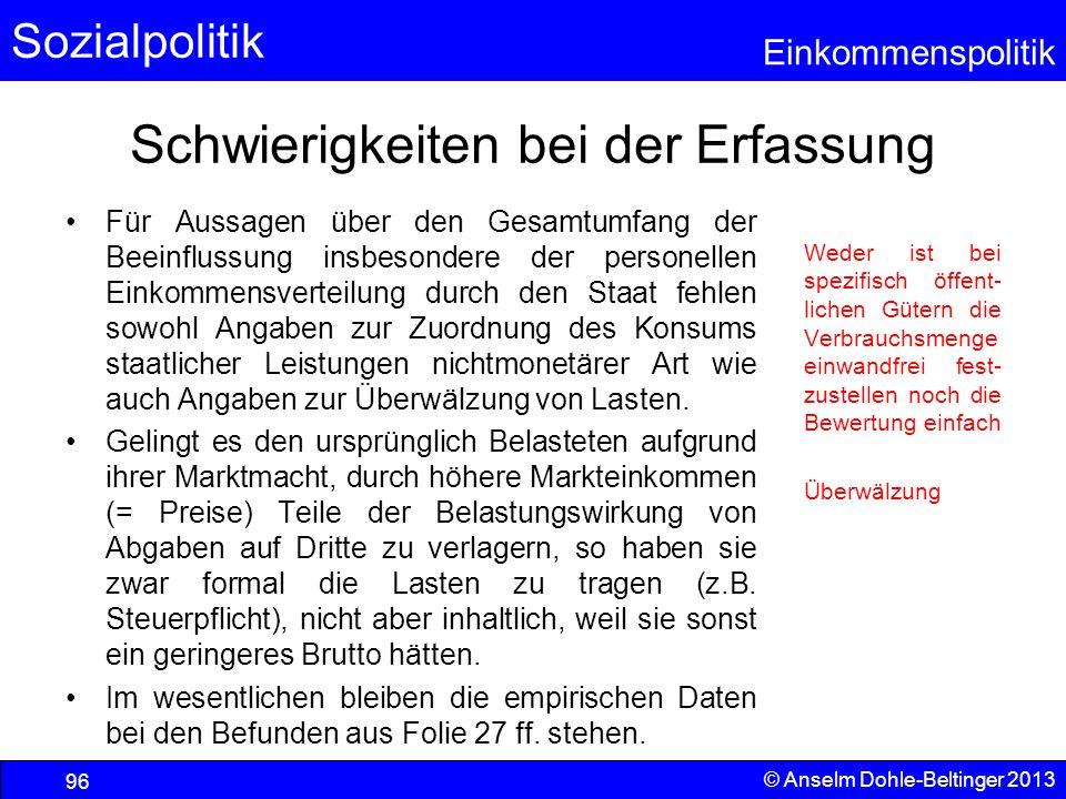 Sozialpolitik Einkommenspolitik © Anselm Dohle-Beltinger 2013 96 Schwierigkeiten bei der Erfassung Für Aussagen über den Gesamtumfang der Beeinflussun