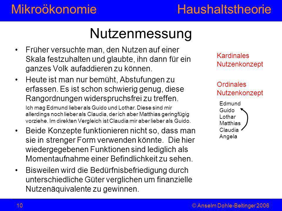 MikroökonomieHaushaltstheorie © Anselm Dohle-Beltinger 200610 Nutzenmessung Früher versuchte man, den Nutzen auf einer Skala festzuhalten und glaubte,