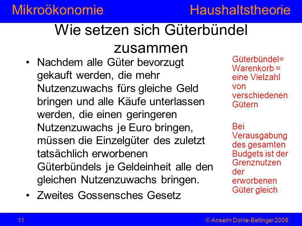 MikroökonomieHaushaltstheorie © Anselm Dohle-Beltinger 200611 Wie setzen sich Güterbündel zusammen Nachdem alle Güter bevorzugt gekauft werden, die me