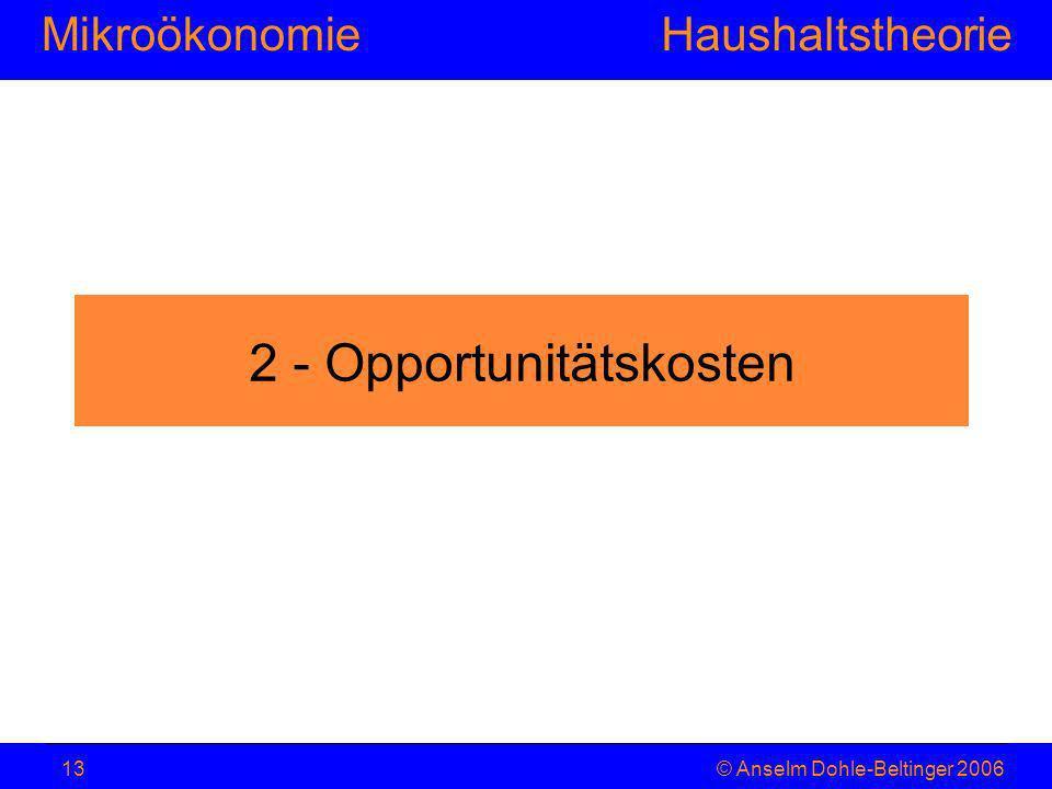 MikroökonomieHaushaltstheorie © Anselm Dohle-Beltinger 200613 2 - Opportunitätskosten