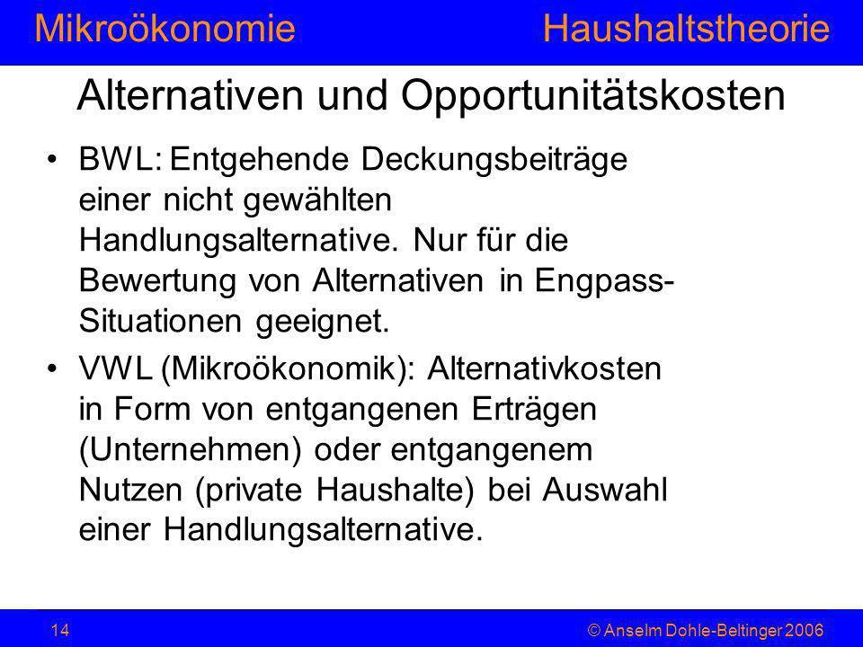 MikroökonomieHaushaltstheorie © Anselm Dohle-Beltinger 200614 Alternativen und Opportunitätskosten BWL: Entgehende Deckungsbeiträge einer nicht gewähl