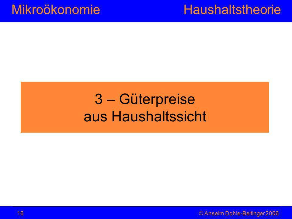 MikroökonomieHaushaltstheorie © Anselm Dohle-Beltinger 200616 3 – Güterpreise aus Haushaltssicht