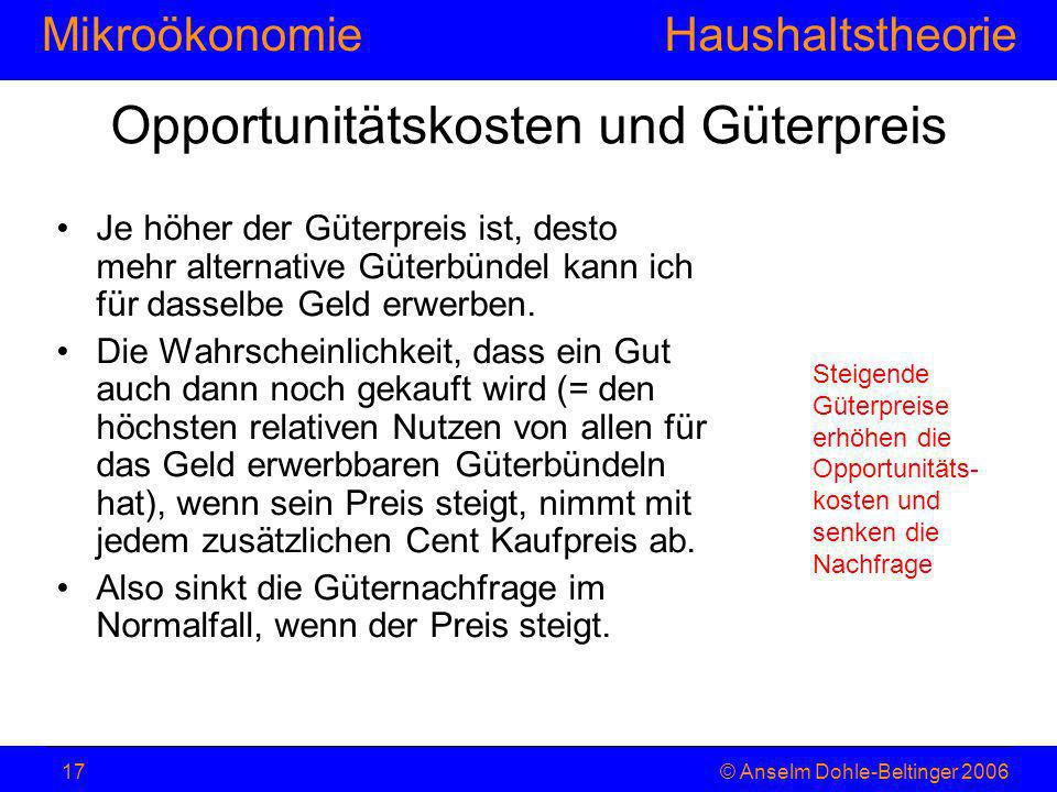 MikroökonomieHaushaltstheorie © Anselm Dohle-Beltinger 200617 Opportunitätskosten und Güterpreis Je höher der Güterpreis ist, desto mehr alternative G