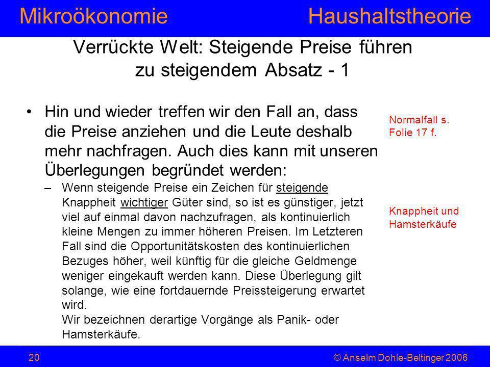 MikroökonomieHaushaltstheorie © Anselm Dohle-Beltinger 200620 Verrückte Welt: Steigende Preise führen zu steigendem Absatz - 1 Hin und wieder treffen