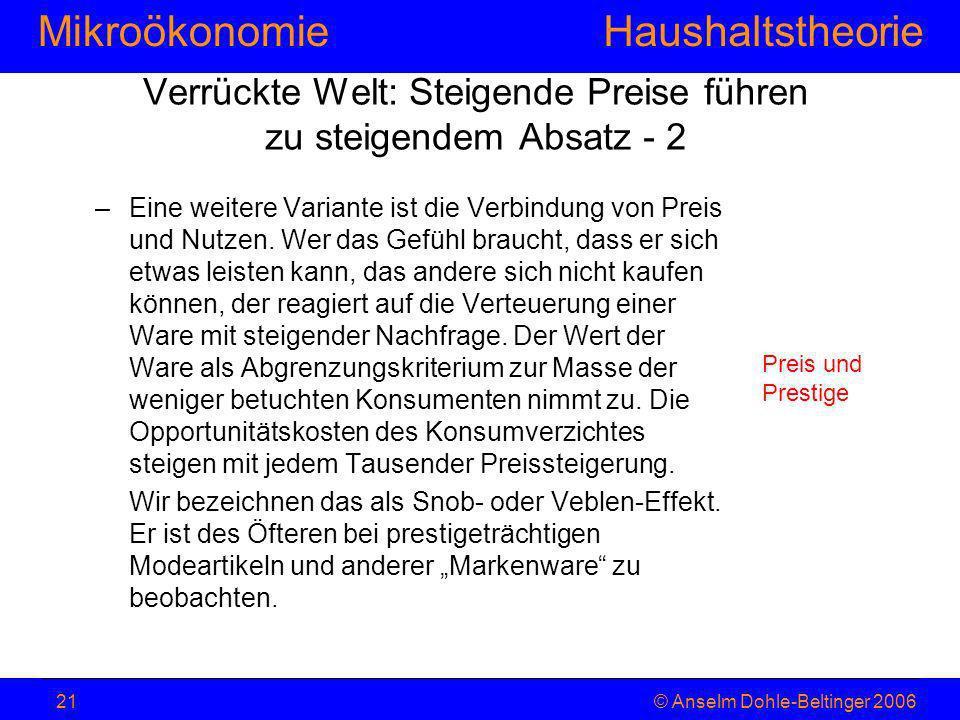 MikroökonomieHaushaltstheorie © Anselm Dohle-Beltinger 200621 –Eine weitere Variante ist die Verbindung von Preis und Nutzen. Wer das Gefühl braucht,