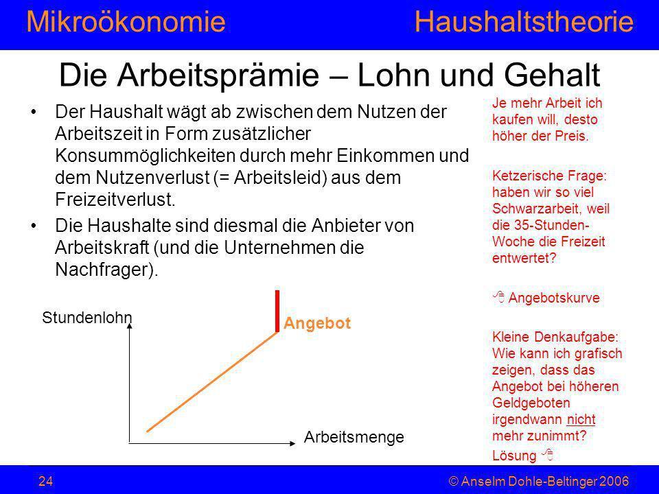 MikroökonomieHaushaltstheorie © Anselm Dohle-Beltinger 200624 Die Arbeitsprämie – Lohn und Gehalt Der Haushalt wägt ab zwischen dem Nutzen der Arbeits