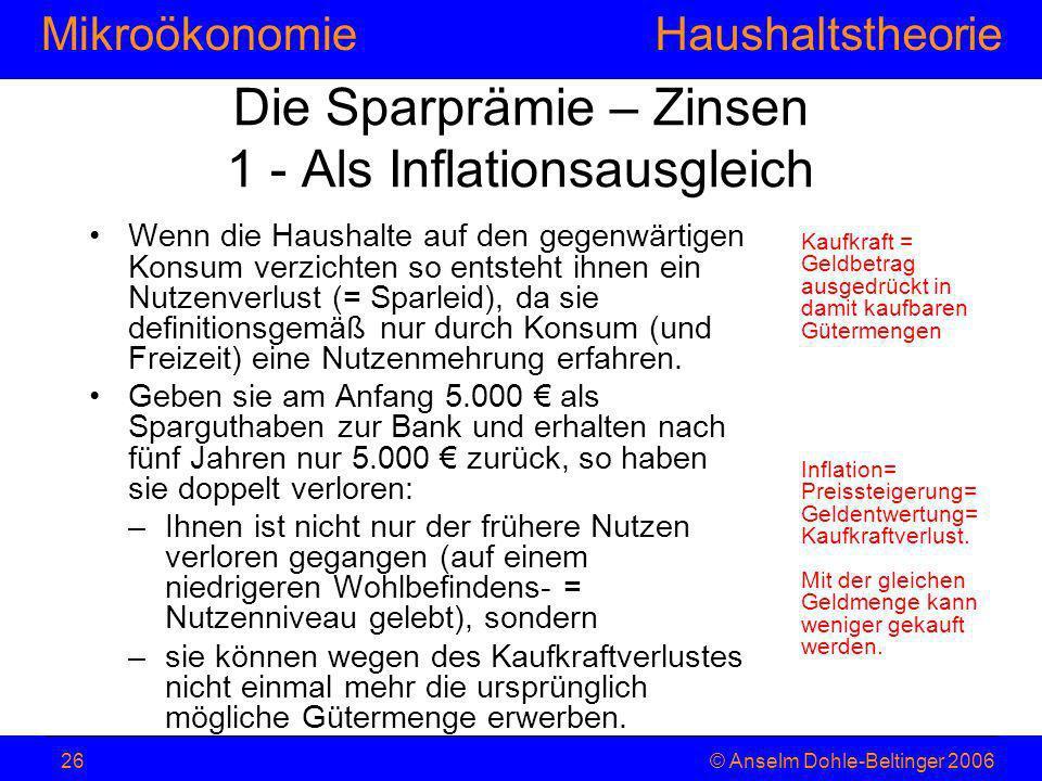 MikroökonomieHaushaltstheorie © Anselm Dohle-Beltinger 200626 Die Sparprämie – Zinsen 1 - Als Inflationsausgleich Wenn die Haushalte auf den gegenwärt