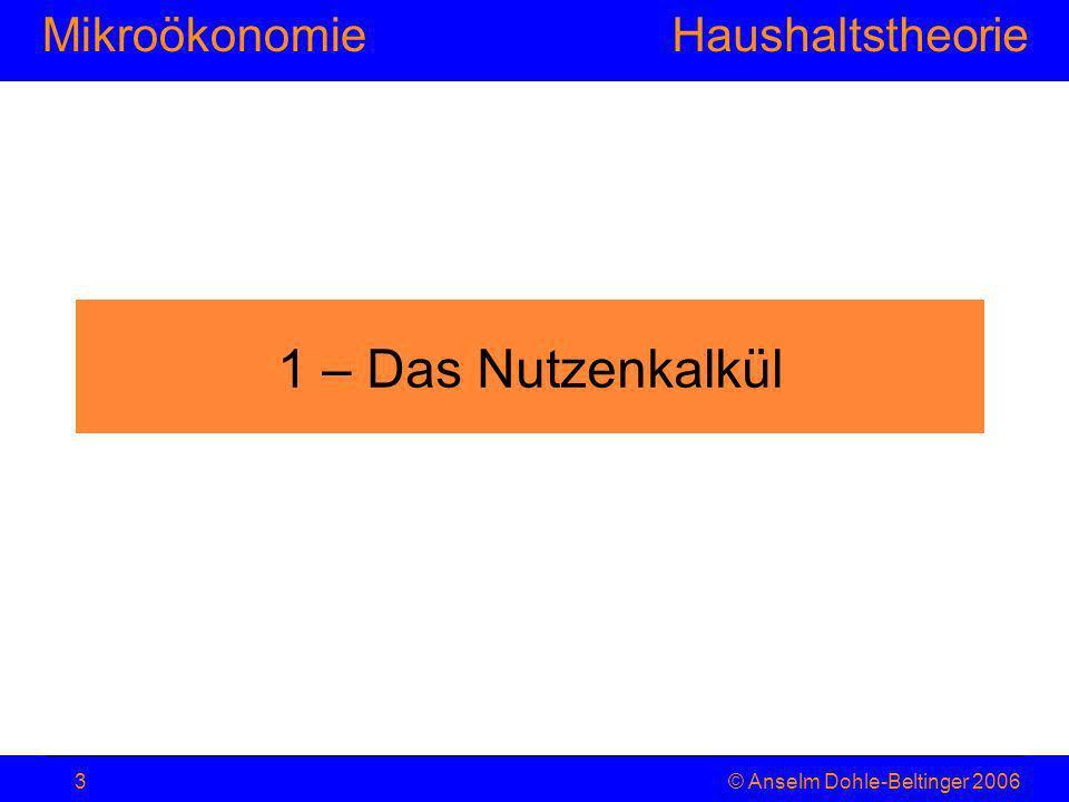 MikroökonomieHaushaltstheorie © Anselm Dohle-Beltinger 20063 1 – Das Nutzenkalkül