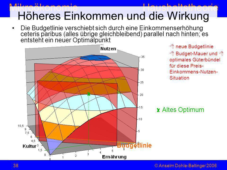 MikroökonomieHaushaltstheorie © Anselm Dohle-Beltinger 200638 Die Budgetlinie verschiebt sich durch eine Einkommenserhöhung ceteris paribus (alles übr