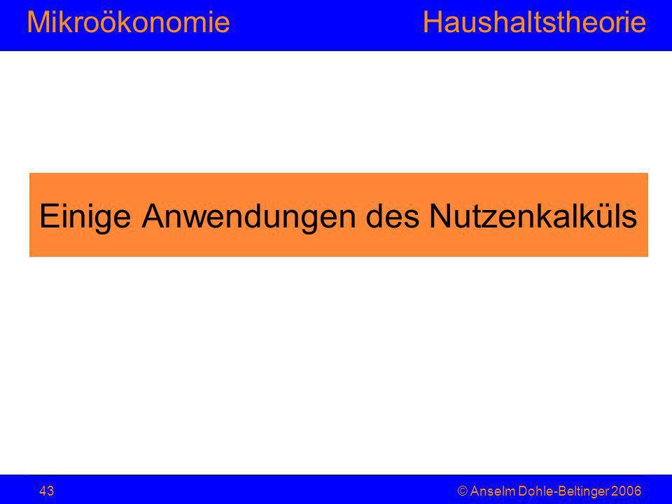 MikroökonomieHaushaltstheorie © Anselm Dohle-Beltinger 200643 Einige Anwendungen des Nutzenkalküls