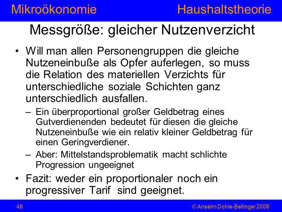 MikroökonomieHaushaltstheorie © Anselm Dohle-Beltinger 200646 Messgröße: gleicher Nutzenverzicht Will man allen Personengruppen die gleiche Nutzeneinb