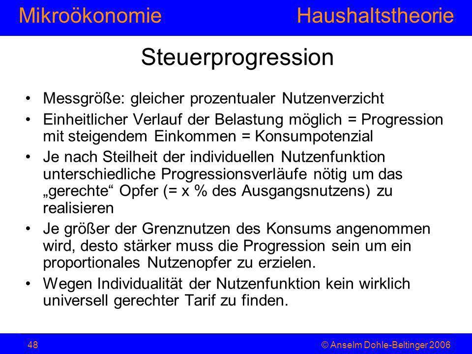 MikroökonomieHaushaltstheorie © Anselm Dohle-Beltinger 200648 Steuerprogression Messgröße: gleicher prozentualer Nutzenverzicht Einheitlicher Verlauf