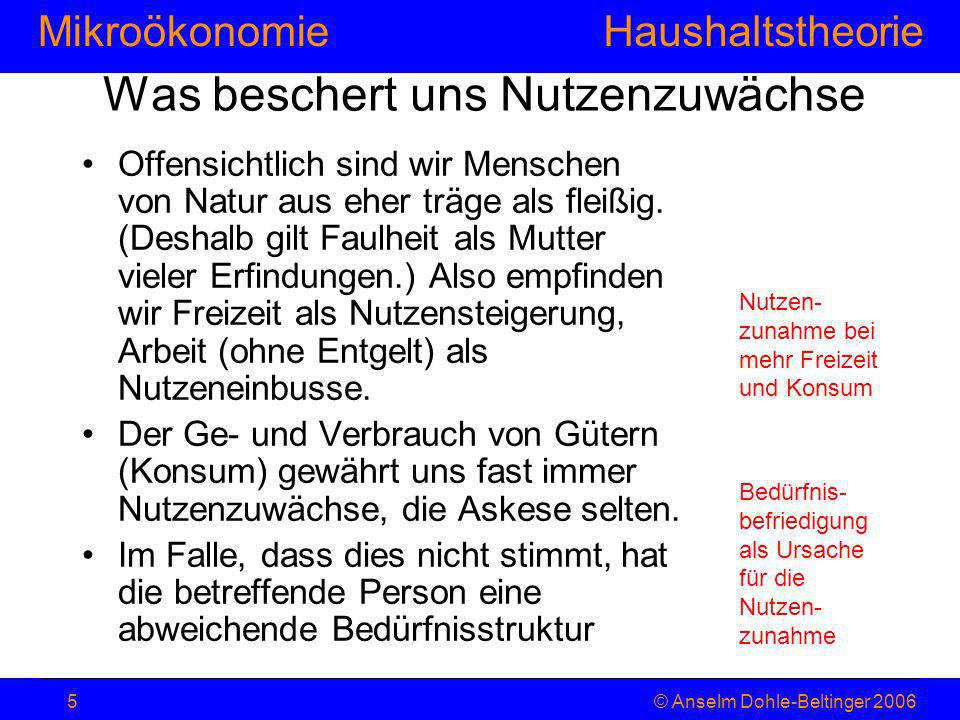 MikroökonomieHaushaltstheorie © Anselm Dohle-Beltinger 20065 Was beschert uns Nutzenzuwächse Offensichtlich sind wir Menschen von Natur aus eher träge