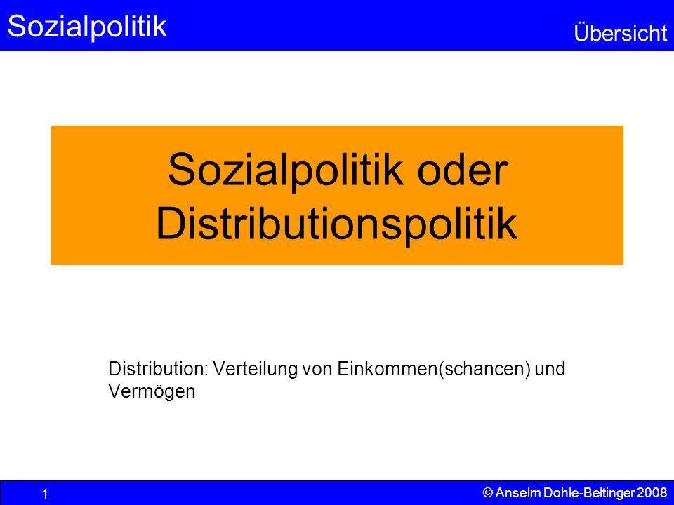 Sozialpolitik Übersicht © Anselm Dohle-Beltinger 2008 1 Sozialpolitik oder Distributionspolitik Distribution: Verteilung von Einkommen(schancen) und V