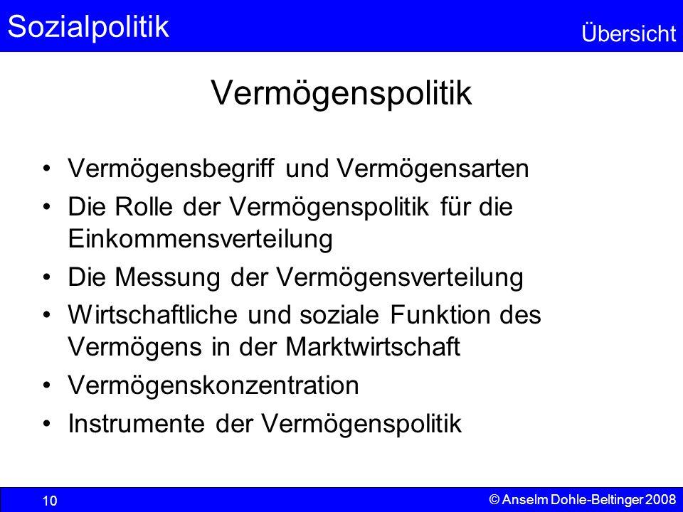 Sozialpolitik Übersicht © Anselm Dohle-Beltinger 2008 10 Vermögenspolitik Vermögensbegriff und Vermögensarten Die Rolle der Vermögenspolitik für die E